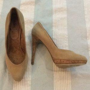 Suede Stilettos w Cork Heel & Plarform